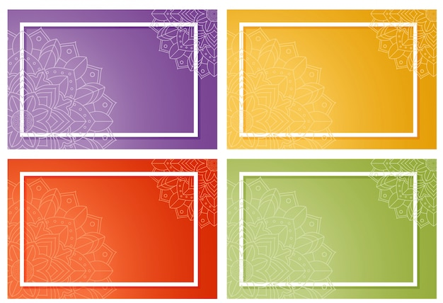 Four background with mandala design