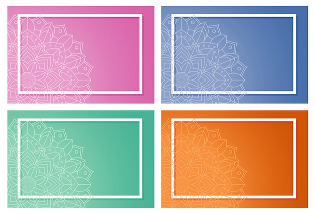 Four background with mandala design