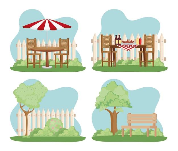 Четыре сцены на заднем дворе