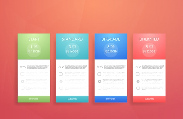 Four banner for the clouded sky service. price list, hosting plans and web boxes