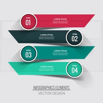 Four banners with circular labels for infographics