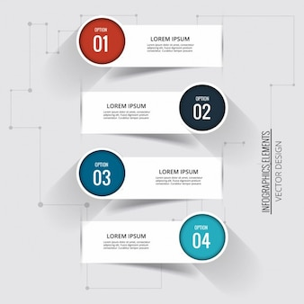 Four banners with circular labels for options