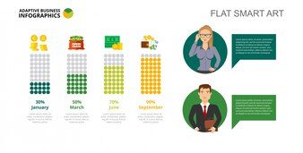 Four Bars Financial Chart Slide Template