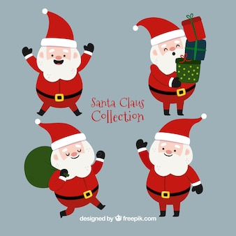 Four beautiful characters of santa claus