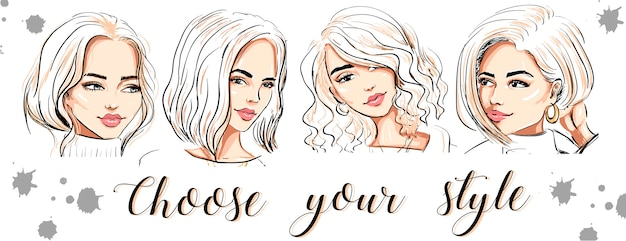 Four beautiful hand drawn women faces banner