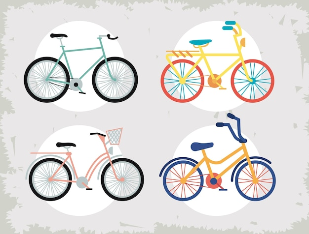 4 개의 자전거 아이콘 프리미엄 벡터