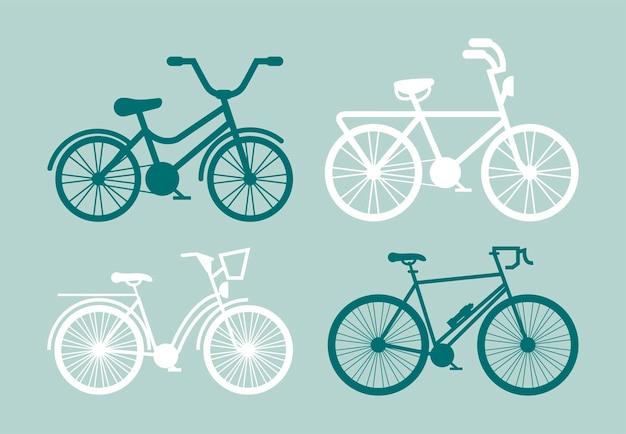 4 개의 자전거 실루엣 프리미엄 벡터
