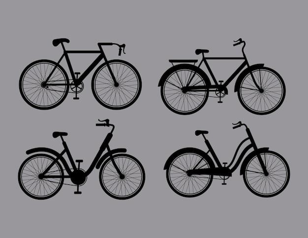 4개의 자전거 실루엣