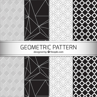 Four black and white geometric patterns