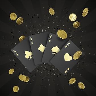 金のラベルと背景に落ちる金のコインが付いた4枚の黒いポーカーカード。エースによるクワッドまたは4種類。ロイヤルスタイルのカジノバナーまたはポスター。ベクトルイラスト