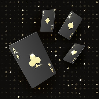 ゴールドのスーツが付いた4枚の黒いポーカーカード。エースによるクワッドまたは4種類。ロイヤルスタイルのカジノバナーまたはポスター。ベクトルイラスト