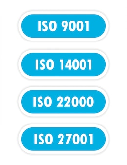 A four blue object with the inscription iso 14001, iso 9001, iso 22000, iso 27001 is depicted on a white background.