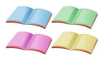 Four books with different color pages