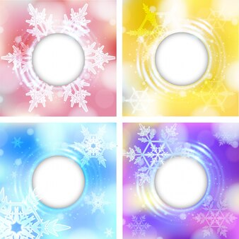 Four border template with snowflakes on bright color backgrounds