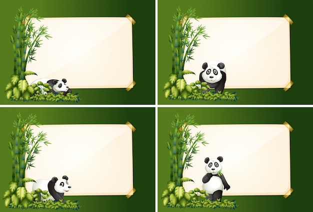 Четыре пограничных шаблона с пандой и бамбуком