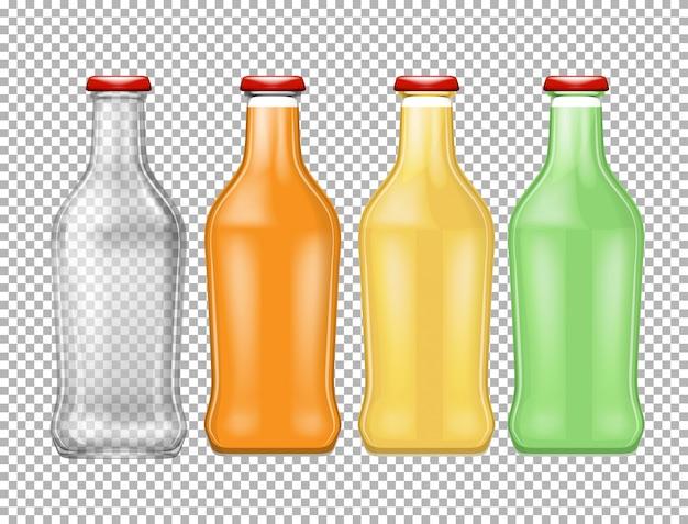 透明の異なる色の4つのボトル