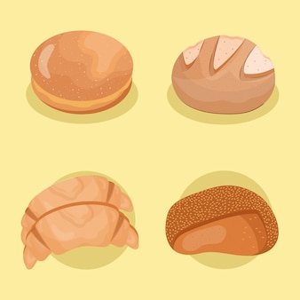 Four of breads delicious pastry products icons.