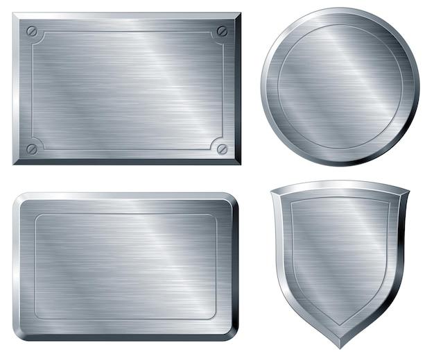 Four brushed metal shapes