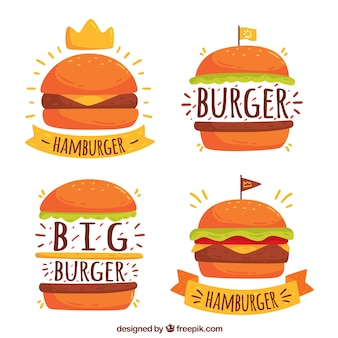 Four burger logos in hand-drawn style