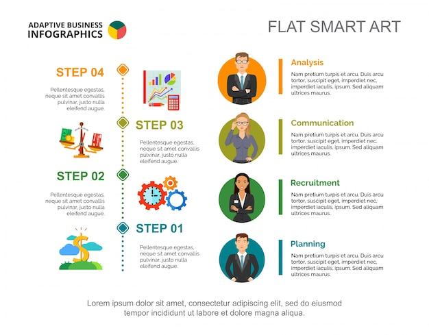 Four business steps slide template