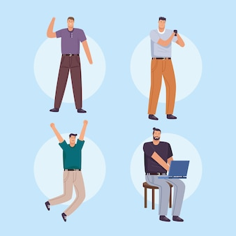 Four businessmen workers avatars characters