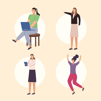 Four businesswomen characters avatars characters