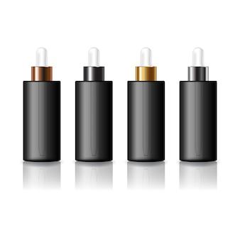 美容のための黒いスポイト付きの4つのキャップカラーの黒い丸い化粧品ボトル