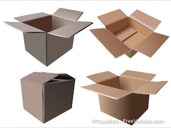 Four cardboard boxes vector