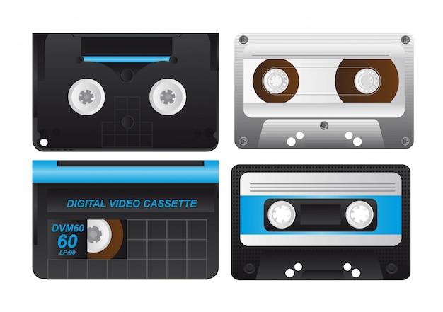 Four cassette isolated over white background vector illustration