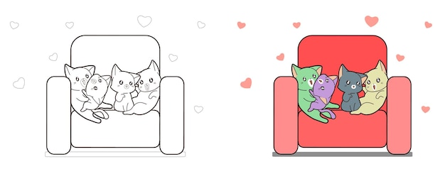 Four cats on the sofa cartoon coloring page for kids