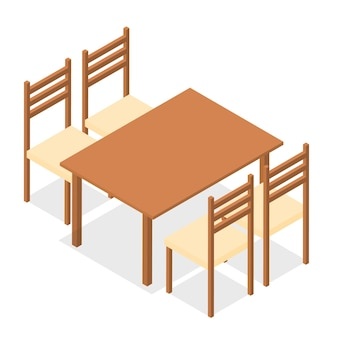 Four chairs and a rectangular table. flat isometric. wood products. isolated on white background. vector illustration.