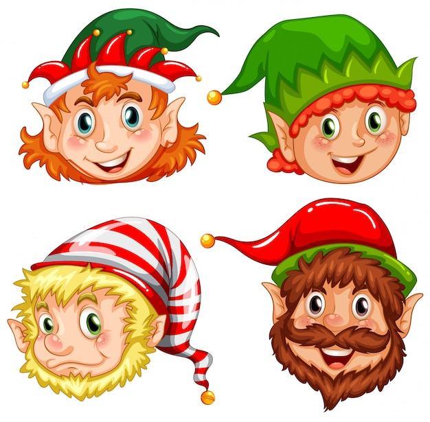 Four characters of christmas elves