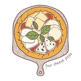 Four cheese pizza, sketching illustration