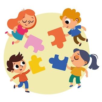 Четверо детей собираются вместе, чтобы собрать большую головоломку. векторная иллюстрация.