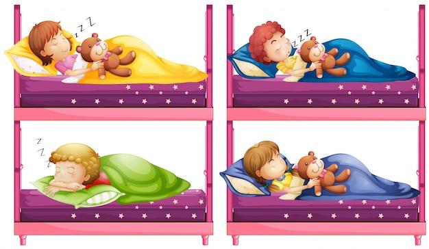 Four children sleeping in bunkbed illustration
