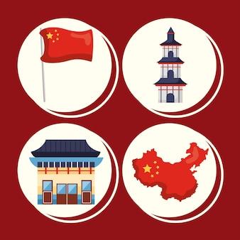 Четыре китайской республики набор иконок