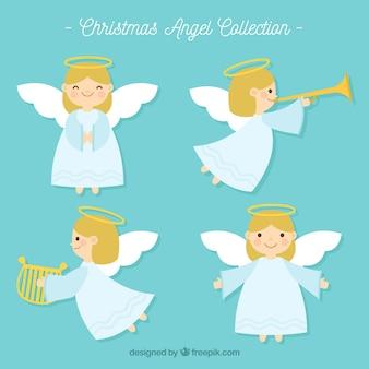 Четыре рождественских ангела в плоском дизайне