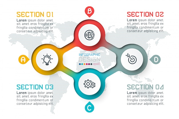 Four circles with business icon infographics