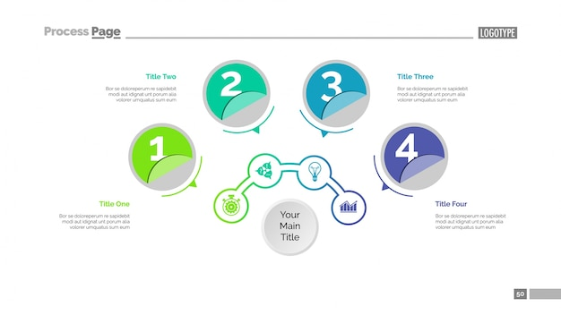 Four circles workflow slide template