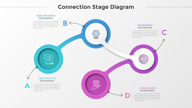 Four circular elements or links with thin line symbols inside connected into chain and place for text. connection chart with 4 steps. infographic design template. vector illustration for presentation.