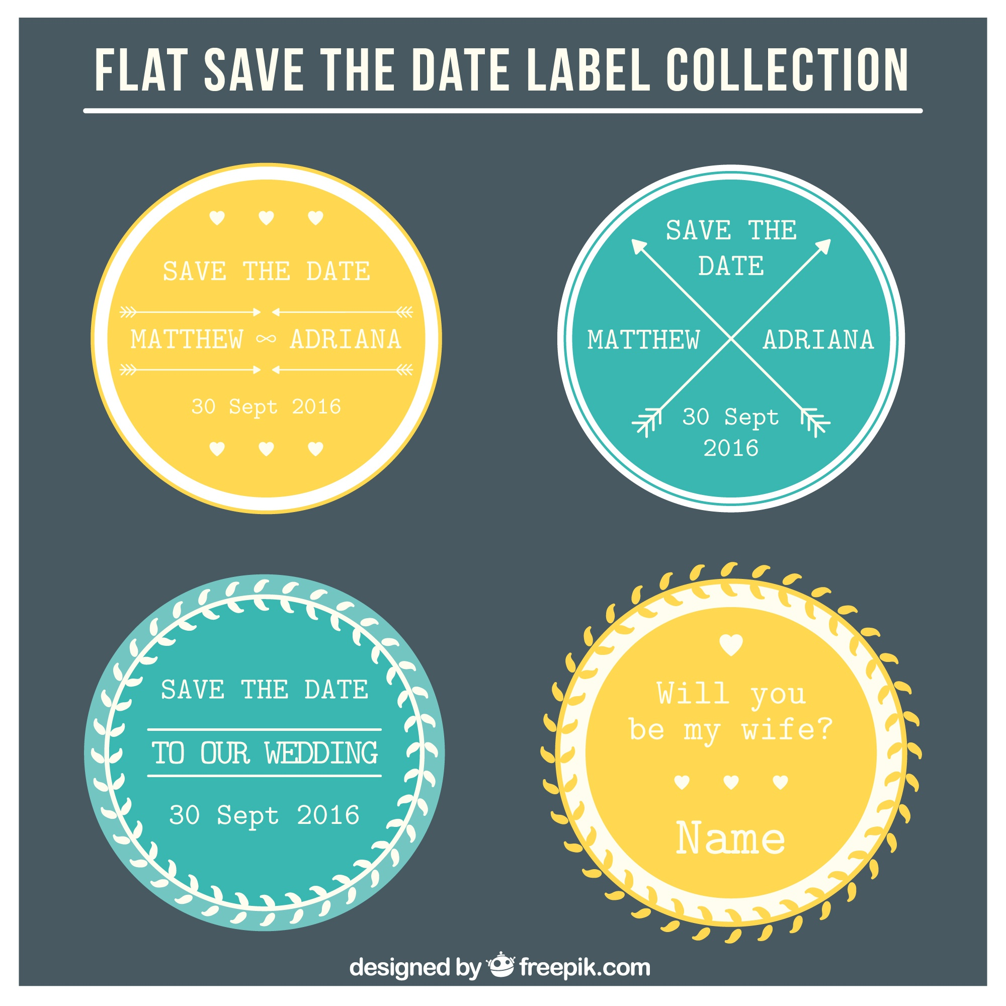 Four circular wedding labels