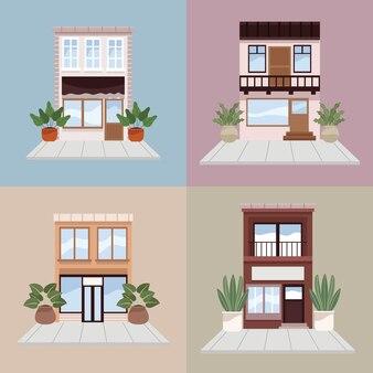 Четыре городских городских здания