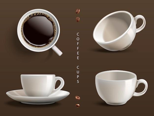 Четыре чашки кофе, серый фон
