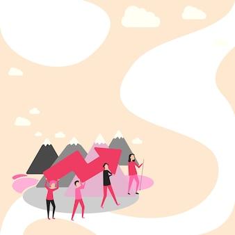Иллюстрация четырех коллег, поднимающихся на гору, держа большую стрелу для успешной переноски товарищей по команде