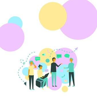 4人の同僚のイラストがお互いに会話を交わし、新しいアイデアのチームメイトをブレインストーミングしています...