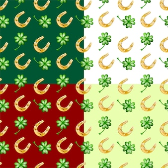 Four color vector seamless patter of good luck, with horseshoe and clever leaves.