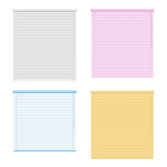 Four colored window roller shutters set