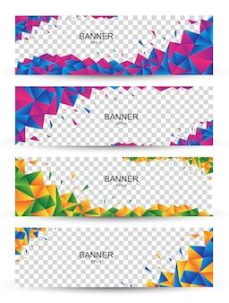 Четыре красочных абстрактных баннер с многоугольной кристаллической формы. векторная графика