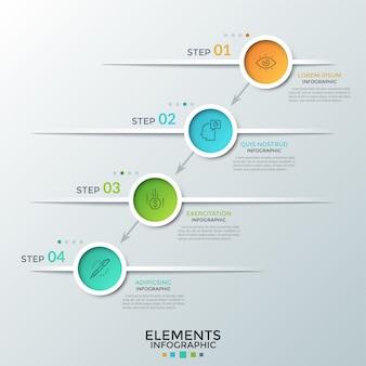 내부에 선형 기호가있는 4 개의 다채로운 원이 대각선으로 배치되고 화살표로 연결됩니다. 4 단계 또는 비즈니스 개발 수준의 개념. 인포 그래픽 디자인 레이아웃.