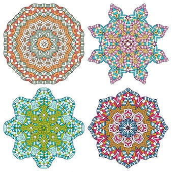 Four colorful elegant mandalas
